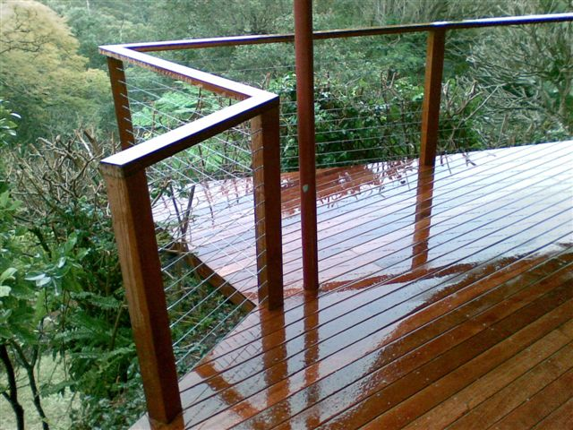 Merbau hardwood decking and wire balustrade, by A Grade Carpentry Group