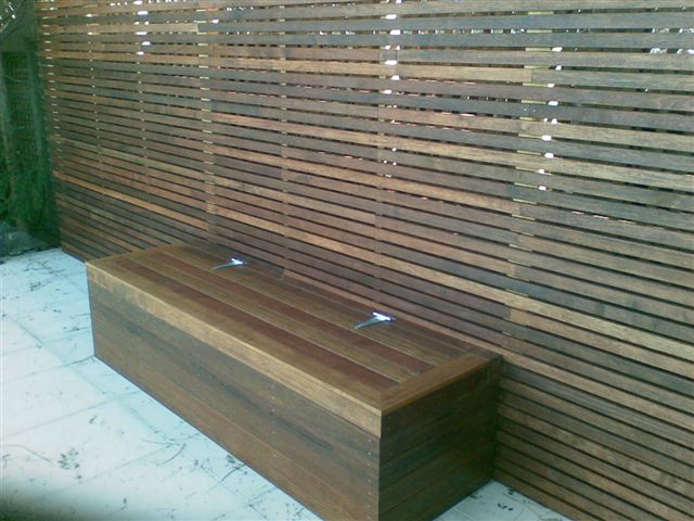 Merbau hardwood pool privacy screen and storage box, by A Grade Carpentry Group