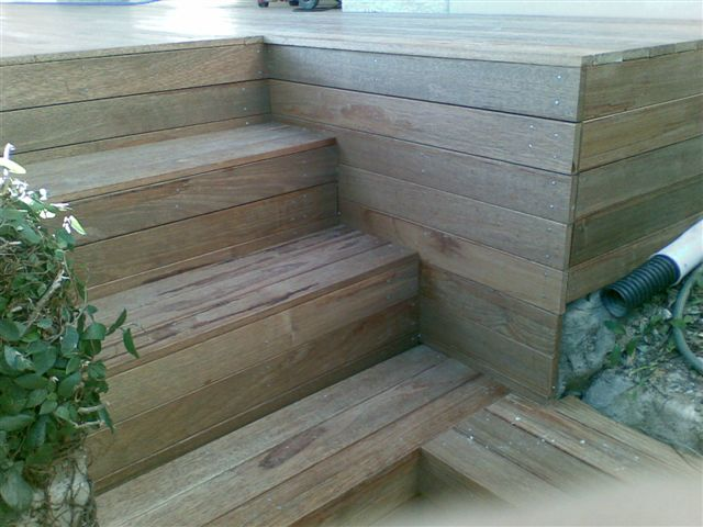 Merbau hardwood stairs off deck, by A Grade Carpentry Group